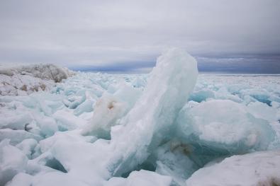 Blue ice along the shoreline