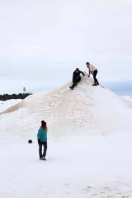 Vince sliding down an ice volcano