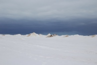 Snow mounds in the disctance