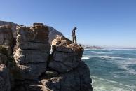 Vince scrambling on some rocks