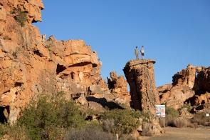 Vince and David after free climbing a pillar