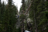 Sarah scrambling above Ypsilon Falls