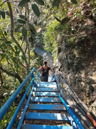The steps to Peguyangan Waterfall