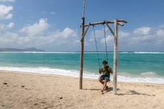 Vince on the beach swing