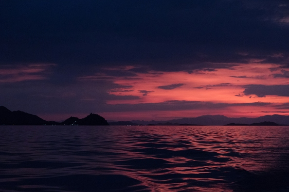 Sunset on our way back to Labuan Bajo