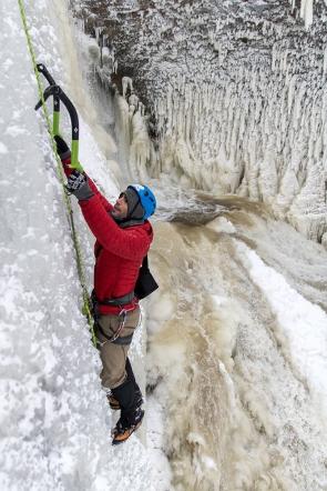 Jordi climbing Miners Falls