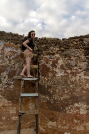 Me exploring the ruins at Playa Peña
