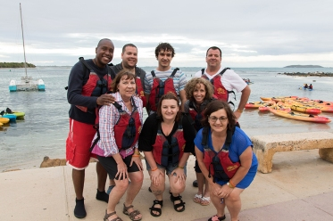 The Percussive Tours group getting ready to kayak