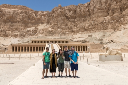Vince, me, Bonnie, David, & Caleb at the Temple of Hatshepsut