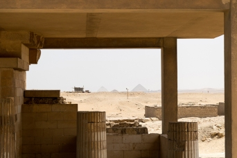 The pyramids of Dahshur in the distance