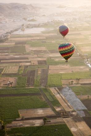 Farmland below our balloon