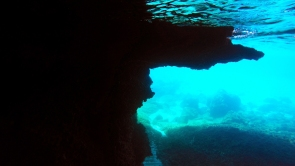 underwater in the cave