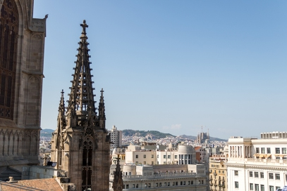 La Sagrada Familia as seen from the tower of the Barcelona Cathedral